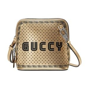 Gucci Guccy Script Dome Metallic Leather Crossbody